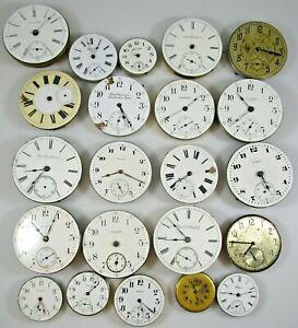 Pocket Watch Lot of 22 Movements Parts Repair As Is Elgin Hampden Waltham