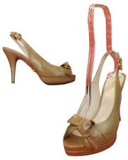 NIB PRADA CARAMEL DISTRESSED LEATHER BOW PLATFORM PUMPS  39.5  $500