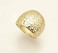 Size 7 Domed Graduated Filigree Cutout Band Ring Solid Real 14K Yellow Gold HSN