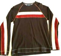 Vintage Tommy Jeans Men's Crewneck Bold Flag Striped Sweatshirt Size XL Brown