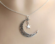 Star Plated Charm Choker Crescent Moon Pendant Necklace Jewelry Silver Chain