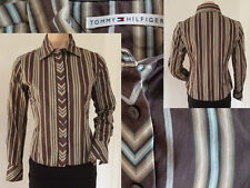 Tommy HILFIGER Chemisier un chemisier Girl manches longues marron rayé 6 M comme neuf