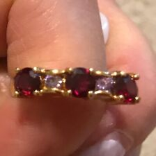 Ruby Ring Size Sz 7 Rings 3 Stone Stones Red Gold