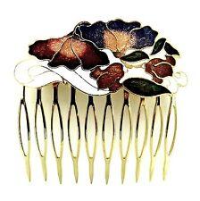 "Cloisonne 2.25"" Hair Comb White Flowers Painted Enamel Vintage Style Updo Clip"
