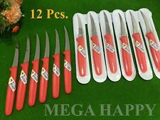 NEW 12Pcs.KIWI STAINLESS RED KNIFE CARVING FRUIT VEGETABLE KITCHEN TOOL THAILAND