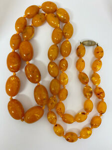 Super Large Faux Egg Yolk Amber Beads 45 Inch Length 179g