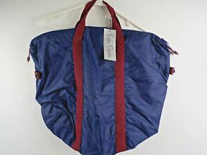 Vtg Pierre Cardin Paris New York Weekender Tote Bag - Navy Blue Nylon