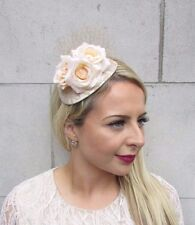 Cream Beige Rose Flower Fascinator Net Hair Headband Wedding Races Hat Vtg 3715