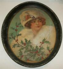 Antique 1913 American Art Works Metal Holiday Serving Tray Janice #134