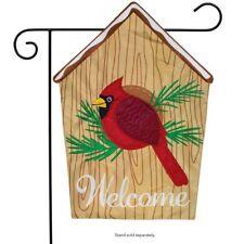 """Cardinal Birdhouse Applique Garden Flag 12.5"""" x 18"""" Briarwood Lane"""