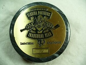 NHL Florida Panthers Marble Paper Weight '93 Inaugural Hockey Puck Collect Pucks