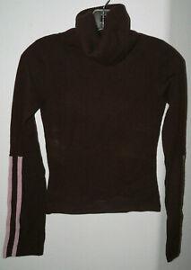 Women's Evolve SZ Small Brown Cashmere Crop Turtleneck Sweater Pink Strip Sleeve