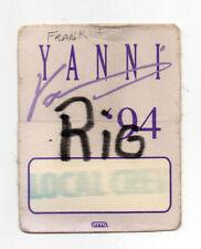 Yanni 1994 Tour Local Crew Satin Backstage Pass