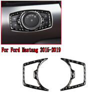 Carbon Fiber Interior Headlight Switch Trim Decoration For Ford Mustang 2015-19
