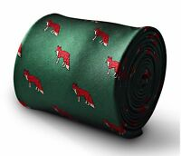 Dark Green Mens Tie with Hunting Fox Print by Frederick Thomas FT3344