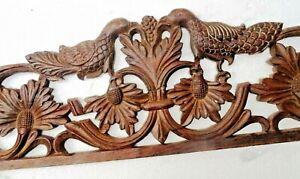 Antique Rose Wood bird design Carved Pediment side table ornament Decor damage