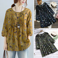 Women Summer Floral 3/4 Sleeve T-Shirt Blouse Loose Casual Tops Oversized Shirts