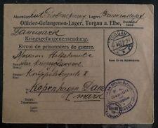 1917 Torgau Germany officer detention camp Pow Cover To Copenhagen Denmark