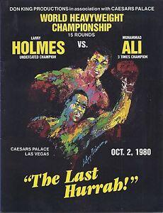 Muhammad Ali  Larry Holmes  Boxing Program  October 2 1980