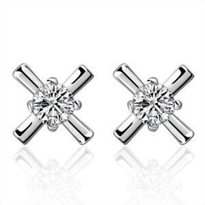 925 Sterling Silver Stud Earrings Crystal Cross 5mm Butterfly Back UK Seller