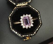 Women's 9ct Gold Amethyst Stone Ring Size Q Hallmarked Weight 3.07g Stamped