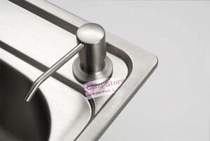 Brushed Stainless Steel Kitchen Sink Soap Dispenser Bathroom Fittings ABS Bottle