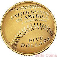 2014 W National Baseball Hall of Fame Gold Proof $5 Dollar US Mint Box COA B31