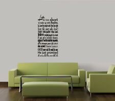 LIFE IS TOO SHORT  WALL ART QUOTE DECAL VINYL LETTERING  WORDS LETTERING HOME