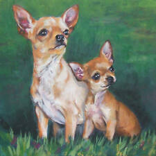 CHIHUAHUA dog portrait art canvas PRINT of LAShepard painting LSHEP 8x8""