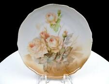 "RS GERMANY ROSES ON PASTEL BROWNS SCALLOPED 7 1/2"" SIDE PLATE 1917-1945"