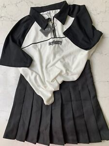 Korean Style Zaful Top And Skirt Size M Blk/Wht