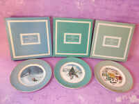 Vintage AVON WEDGWOOD Christmas Scene Collector Plates England 8.75 In Lot of 3