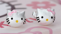 Super Adorable Pink Hello Kitty Cat Kitten Silver SP Stud Earring