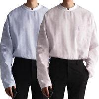 Retro Men's Collarless Long Sleeve Shirts Striped Shirt Grandad Top Pullover Tee