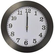 Groß 35cm Rund Wanduhr mit Quarz Uhrwerk Schwarz Rahmen