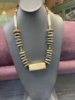 "Vintage Bohemian style tan dark brown brass beaded statement  22"" ~ Necklace"