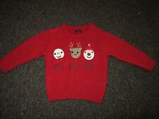 Baby Boys Girls Next Christmas Jumper 12-18 mesi Rosso Lavorato a Maglia Renna Babbo Natale