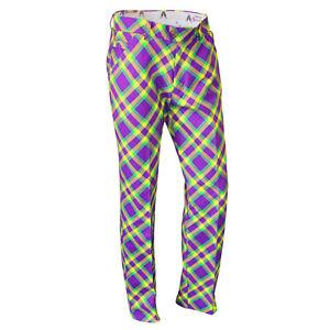 SALE Mardi Grass Golf Trousers By Royal & Awesome Funky Loud Tartan Golf Pants