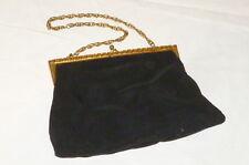 Vecchia Borsa Portamonete Portafoglio donna Oro nero di stoffa con catena