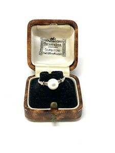 Very Beautiful Vintage Sterling Silver 925 Cultured Pearl Mikimoto Ring #603