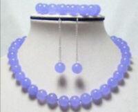 10mm Lavender Purple Jade Round Gemstone Beads Necklace Bracelet Earrings Set AA