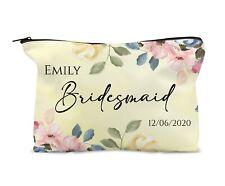 Personalised Make Up Bag Travel bag Lemon Floral Bridesmaid Maid Honour Gift