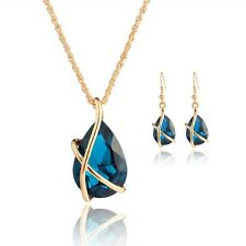 Women Elegant Jewelry Set Crystal Rhinestone Studs Earrings Necklace Pendant