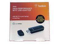 NEW Belkin N300 High Performance Wireless Wi-Fi USB Adapter Dongle F9L1002