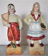 Biscuit ancien statuette couple Hollandais pêcheurs numéroté beeldje