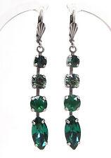 SoHo® Ohrringe Ohrhänger altsilber navette emerald geschliffen Strass grün