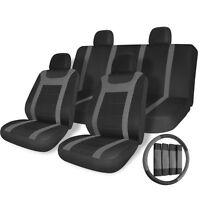 Car Seat Covers Grey on Black Auto w/Steering Wheel/Belt Pad/Head Rest 17pc Set