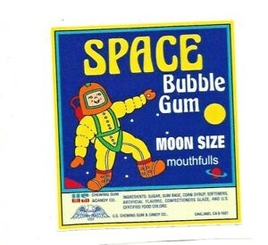 """SPACE BUBBLE GUM"" GUM GUMBALL VINYL STICKER / DECAL BALL MACHINE RETRO VINTAGE"