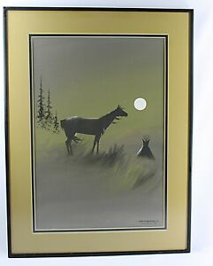 Original  NATIVE AMERICAN PAINTING by White Buffalo/Bobby Hill, 1971