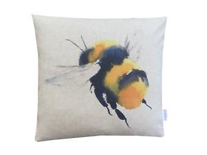 Handmade Queen Bee digital Print water colour linen look fabric cushion cover